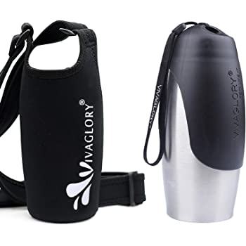 Vivaglory 25oz Stainless Steel Dog Bottle & Neoprene Bottle Carrier Combo, Great for Walking & Hiking with Dogs