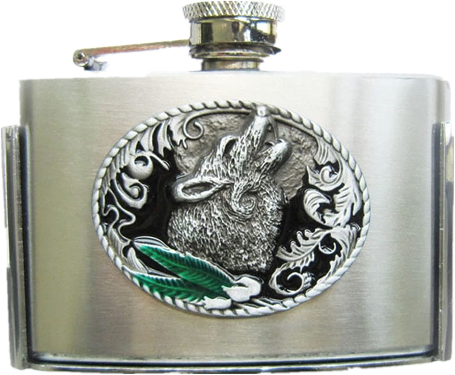 Inexpensive Western Wolf latest Three Ounce Stainless also Buckle Steel Flask Belt