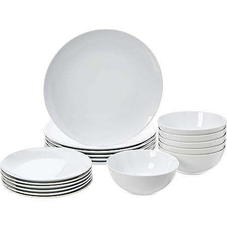 Amazon Basics Service de table 18pièces - Porcelaine blanche coupée, pour 6personnes