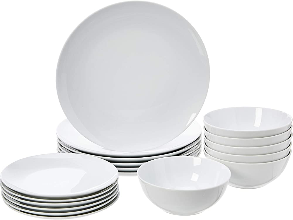 Amazon basics - servizio di piatti per 6 persone, 18 pezzi , in porcellana CX09BI