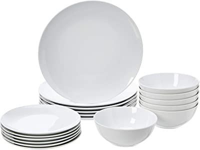 Amazon Com Amazon Basics 18 Piece Kitchen Dinnerware Set Plates Dishes Bowls Service For 6 White Porcelain Coupe Dinnerware Sets
