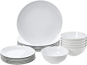 AmazonBasics 18-Piece Dinnerware Set - White Porcelain Coupe