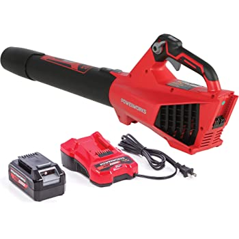 POWERWORKS XB 40V Cordless Axial Leaf Blower, 120 MPH / 450 CFM, 2Ah Battery and Charger Included BLP302, Red/Black