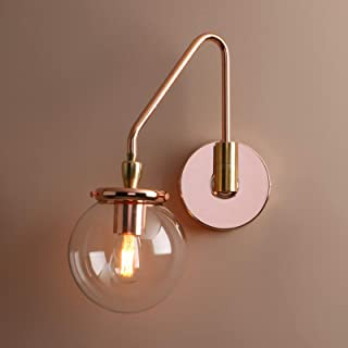 Pathson Industrial Glass Wall Sconce Lighting, Adjustable Swing Arm Wall Lamp for Bedside, Vintage Style Wall Light Fixtures for E26 or E27 Bulbs Brass Dark Finish (Copper)