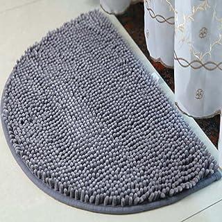 Half Moon Chenille Large Outdoor Door Mats, DreamInn Bedroom Bathroom Non-Slip Doormat, 18-inch by 30-inch (Light Gray)