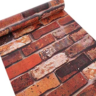Brick Wallpaper Faux Smooth Rust Red Brick Peel and Stick Wall Paper for Living Room Home 17.7