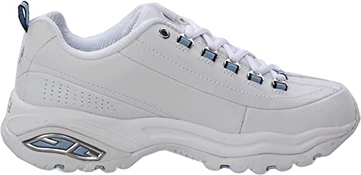 White Smooth Leather/Blue Trim