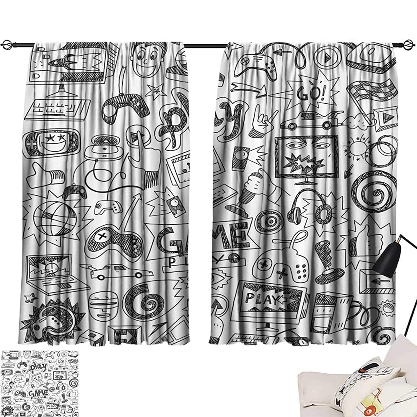 Amazing Video Games Curtains, Black and White Sketch Style Gaming Design Racing Monitor Device Gadget Teen 90s Window Treatments for Bedroom 2 Panels Set, Each Panel 26
