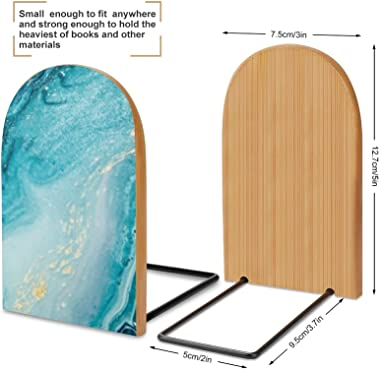2 Pcs Wood Bookends Ocean Art Natural Luxury Style Book Ends,Decorative Book Ends for Holding Books/Cookbooks/DVDs/Movices-Re