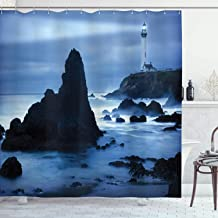 Ambesonne Lighthouse Decor Collection, Lighthouse at the California Coast with Light Beam Peaceful Foggy Surface Twilight Image, Polyester Fabric Bathroom Shower Curtain Set, 75 Inches Long, Blue