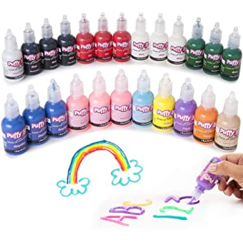 Puffy Premium Quality Nontoxic Set of 24 Bright Colors. Safe for Kids, for School Projects, Permanent on Fabric, Canvas 3D Paint, 24 Pack, 24 Count