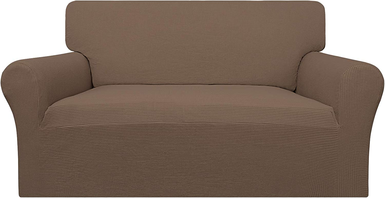 Easy-Going 100% Waterproof Loveseat Couch Cover, Dual Waterproof Sofa Cover, Stretch Jacquard Sofa Slipcover, Leakproof Furniture Protector for Kids, Pets, Dog and Cat ( Loveseat, Brown)