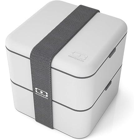 monbento - MB Square bento box - Lunch box hermétique 2 étages - Boîte repas idéale pour le travail/école - sans BPA - durable et sûre (Gris Coton)