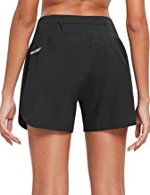 BALEAF Womens 5 Inches Knit Waistband Running Shorts with Liner Dry Fit Lounge Gym Walking Lined Shorts Back Zipper Pocket