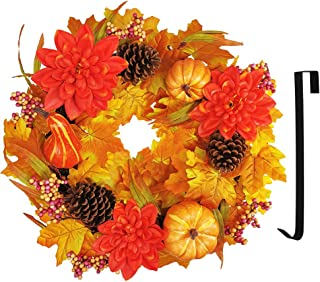 Fall Door Wreath Artificial Harvest Wreath with Maple Leaves Dahlia Pumpkin Gourd Pinecone Berries Grapevine Twig Wreath for Fall Thanksgiving Front Door Mantel Seasonal Decoration 22