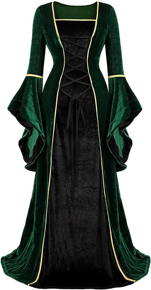 CZIFFRA Women Renaissance Costum Medieval Dress Irish Long Dress Hallowee Costume