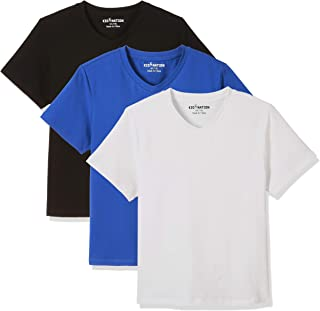 Kid Nation Kids' 2-Pack Tag-Free Short Sleeve Spandex Jersey V-Neck T-Shirt for Boys or Girls