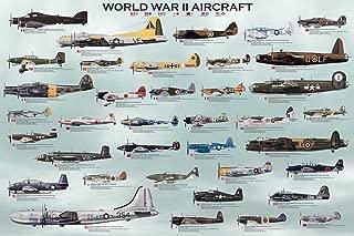 Laminated World War II Military Aircraft Educational Chart Poster Print 24x36