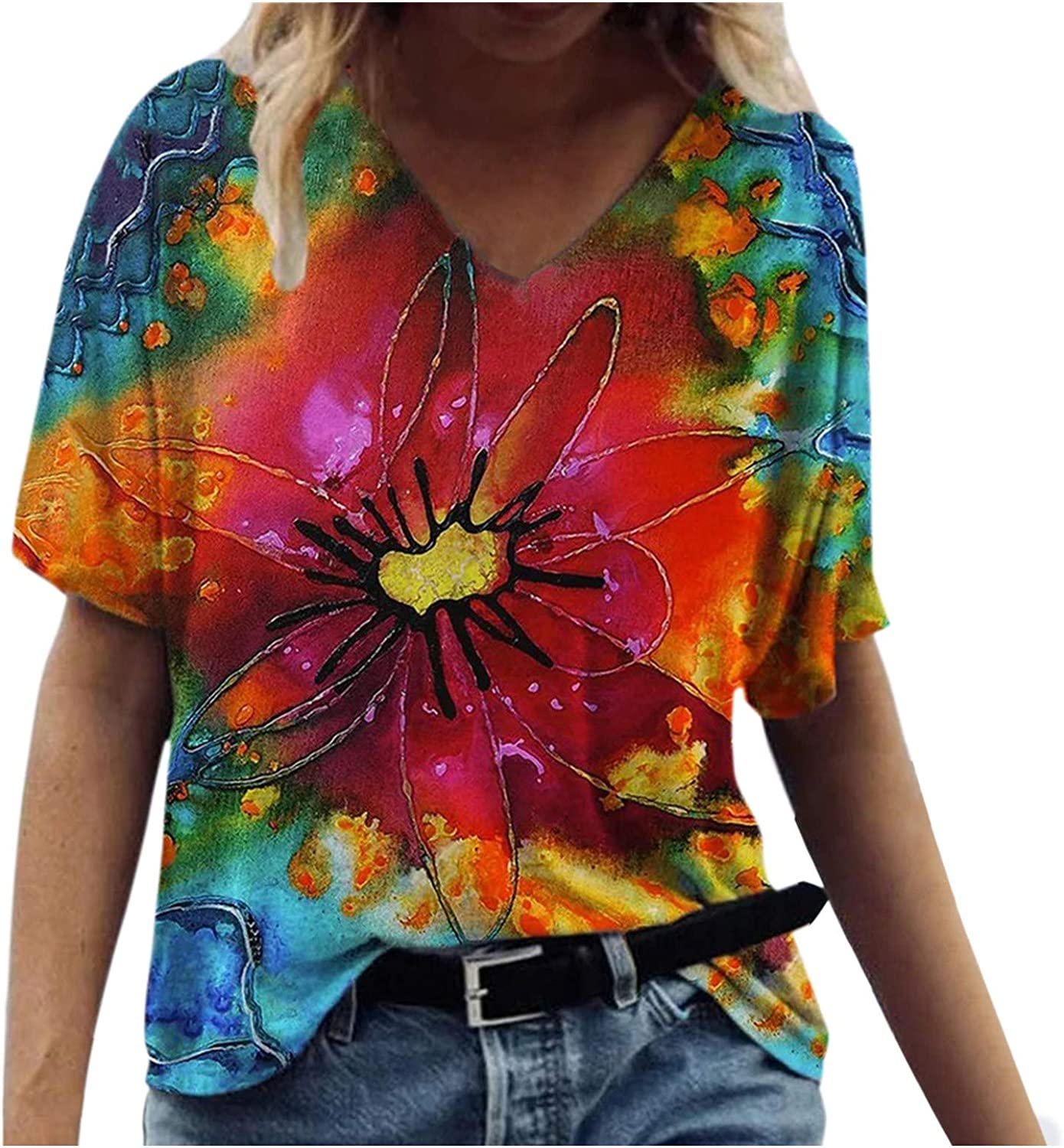 FABIURT Women Short Sleeve Tops,Womens Vintage Floral Printed V Neck T Shirts Summer Ladies Casual Loose Tee Blouse Tops