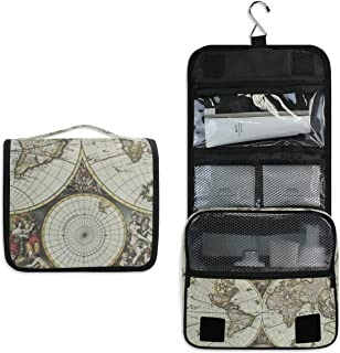 Hanging Toiletry Bag Old Map Of World Travel Organizer for Makeup and Toiletries for Men Women,Hang Case for Cosmetics and Toilet Accessories with Metal Swivel Hook