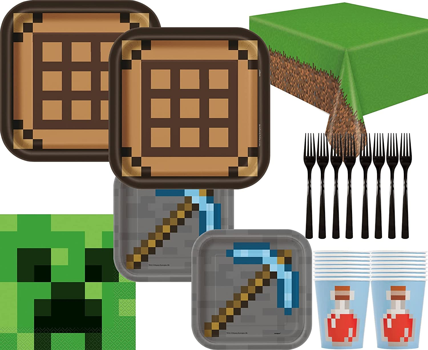 Minecraft Party Supplies Bundle with Plates Forks Indefinitely Napkins Cup online shop