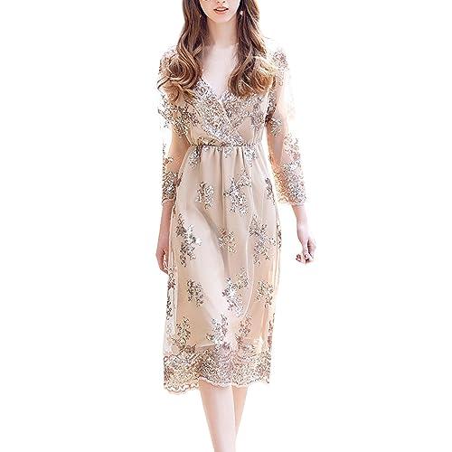 a25eca88b04 Simplee Women s V Neck Long Sleeve Sequin Midi Dress Party Evening Clubwear
