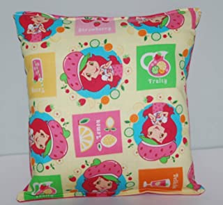 Strawberry Short Cake Pillow Vintage Cartoon Classic Pillow 10 inches by 11 inches Handmade Hypoallergenic Cotton with Flannel Backing Ideal for Gift and Multiple Uses
