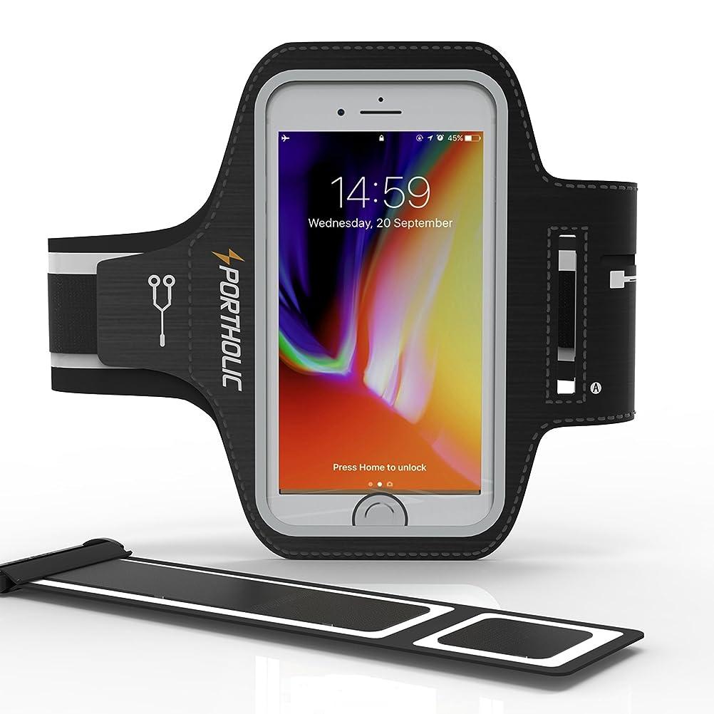 解釈するカウンターパート従来のランニングアームバンド スポーツ スマホ アームバンド PORTHOLIC 指紋識別対応 防汗 軽量 小物収納&調節可能 男女兼用 iPhone XR/Xs Max/8/7/6S/6 Plus Xperia、Samsung、 Androidなど 6インチまでのスマホに対応 終生保証