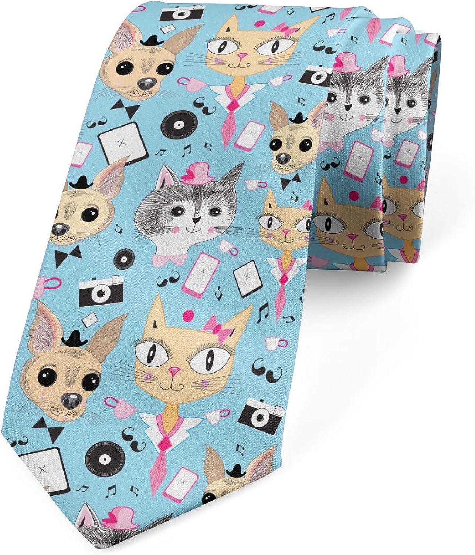 Ambesonne Men's Tie, Hipster Animals Bow Tie, Necktie, 3.7