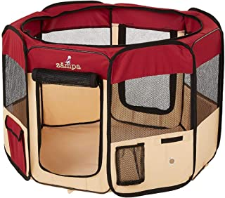 Zampa Portable Foldable Pet playpen Exercise Pen Kennel Carrying Case for Larges Dogs Small Puppies/Cats | Indoor/Outdoor ...