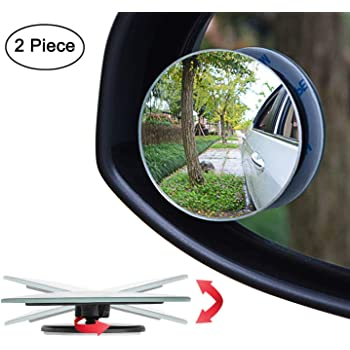 CarEmpire Blind Spot Mirror, Rearview Convex Side Mirrors for Cars SUV Truck Van Stick on 3M Adhesive, Rear View HD Glass Frameless Sway Rotate Adjustable Wide Angle, 2 inch Round 2pcs