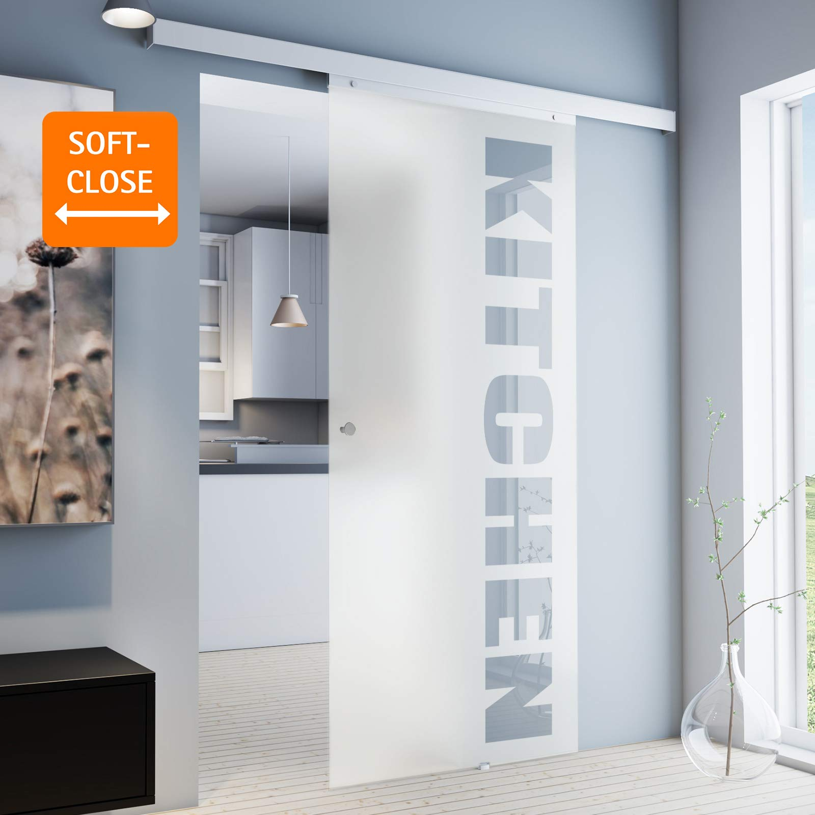 inova Cristal corredero 755 X 2035 X 8 mm con Texto Juego Completo de Puerta corredera de Herraje de Aluminio Opcional softclose, Griffknopf+Softclose: Amazon.es: Hogar