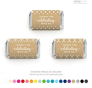 Andaz Press Chocolate Minis Labels Trio, Fits Hershey's Miniatures Party Favors, Thank You for Celebrating with US, 36-Pack, Custom Made 20 Colors