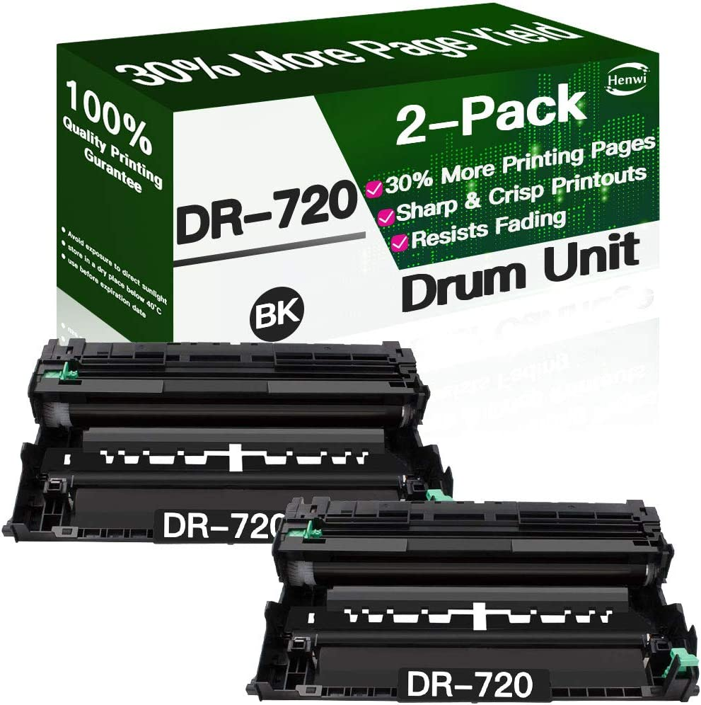 Henwi Compatible Drum Unit Replacement for DR720 DR-720 use with Brother HL-5440D HL-5450DN HL-5470DW HL-6180DW DCP-8155DN MFC-8810DW MFC-8710DW MFC-8910DW MFC-8950DW Printer (Black, 2-Pack)