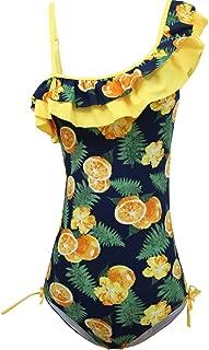 Girls Lemon Double Ruffle One Shoulder Adjustable Swimwear Fashionable One Piece Bathing Suit(5y-16y)