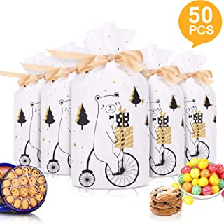 """50pcs Christmas Candy Cookies Drawstring Gift Bags 7""""×4"""", Plastic Treat Bags with Bow-Tie for Birthday Party Wedding Favor,Q"""