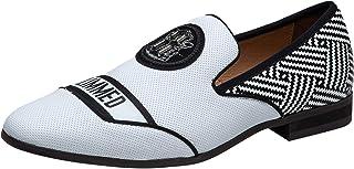 Chaussures en Cuir pour Hommes Black Broderie Noble Mocassins Slip on Loafers Chaussures de Conduite Slipper