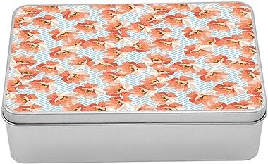 Ambesonne Coral Metal Box, Soft Pastel Poppy Flowers on Chevron Zigzag Backdrop Romantic Feminine, Multi-Purpose Rectangular