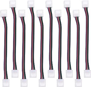 JACKYLED RGB 5050 3528 LED Light Strip Connector 4 Pins 10 mm Wide Strip to Strip Jumper 10-Pack Wire Solderless