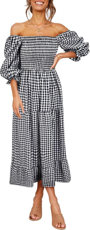 UIMLK Women's Boho Flowy Cottagecore Puff Sleeve Off The Shoulder Summer Casual Plaid Ruffle Midi Long Dress