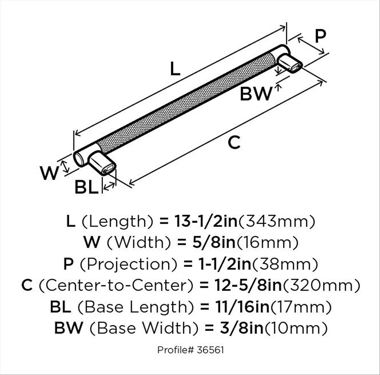 BP36561PNSS 320/mm Amerock Esquire 12/ /5//8/en. centro de n/íquel pulido//negro bronce gabinete Tire