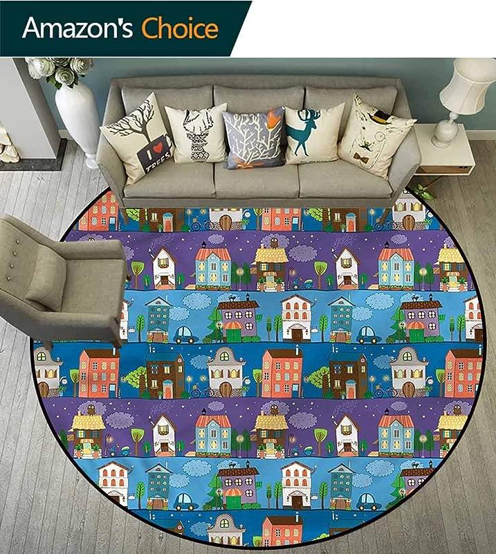 RUGSMAT Urban Super Soft Circle Rugs For Girls Hand Drawn Townhouses Non Skid Bath Mat Living Room Bedroom Carpet Diameter 35