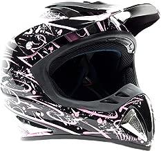 Typhoon Adult Women's Dirt Bike Helmet ATV Off Road Motocross Motorcycle - Pink & Black (Large)