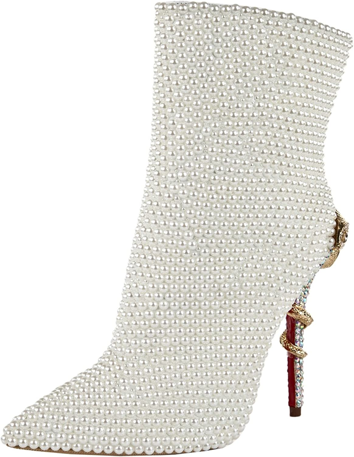 TDA Women's MA1303 Pearl Beaded Stiletto Heel Patent Leather Bridal Wedding Ankle Boots