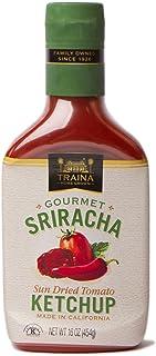 Traina Home Grown Gourmet Sriracha Ketchup - No Corn Syrup, Non GMO, 16 oz bottle