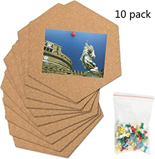 Hexagon Cork Tiles Board,Pin Board Decoration for Pictures,Mini Wall Bulletin Boards, Very Thick10 Pack with Full Sticky Back - Bonus 50 Pins