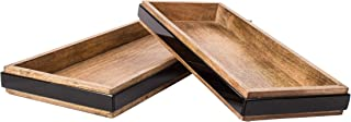 RED FIG HOME Decorative Serving Tray for Coffee Table Ottoman Perfume Bathroom Vanity Makeup Kitchen Decor Set 2 Rectangular Large Wooden Trays for Drinks Jewelry Trinkets Mail and More