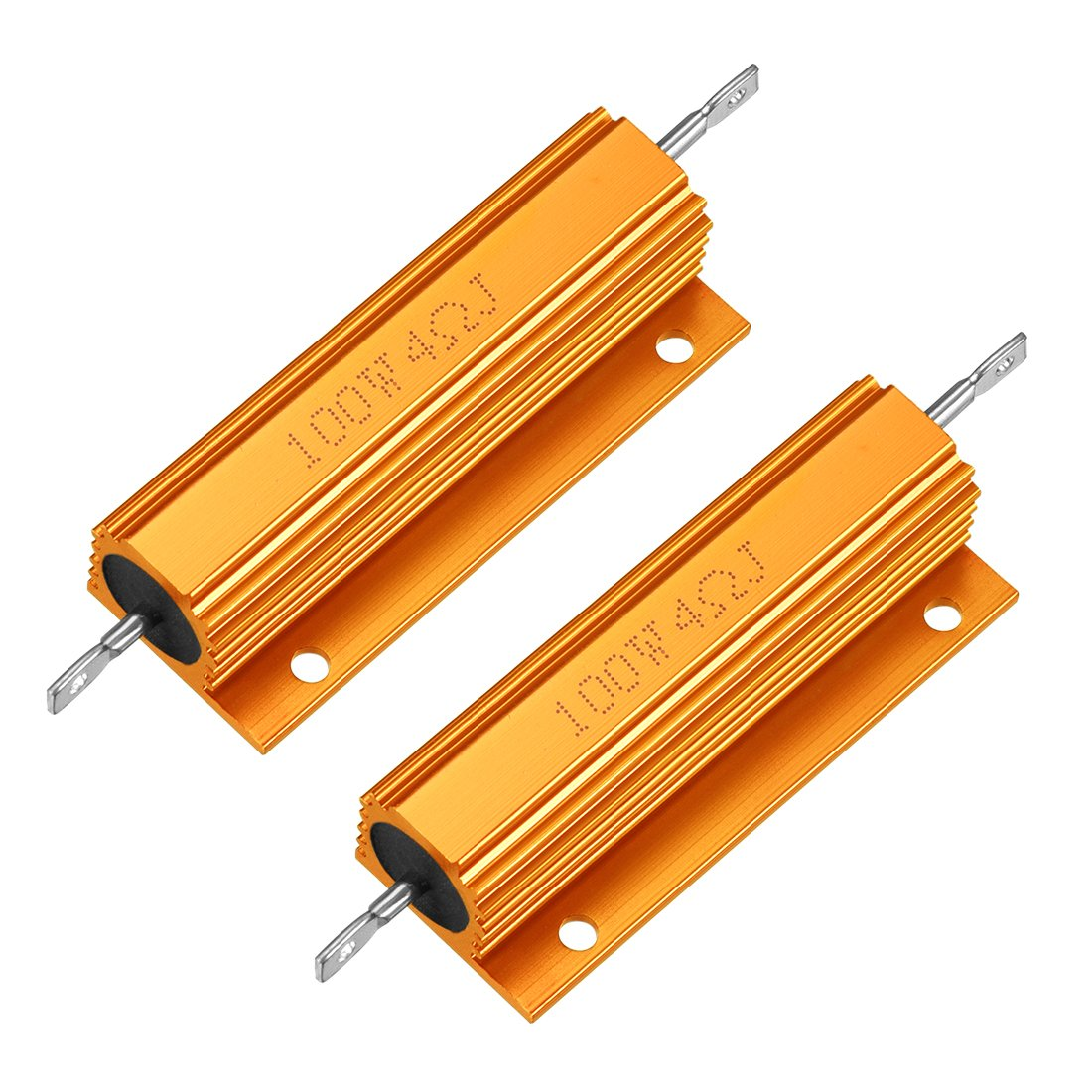 Las Vegas Mall uxcell 2pcs Popular popular Aluminum Case Resistor 100W Wirewound 4 for Ohm Gold