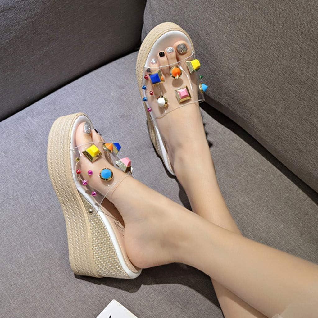 Coverhome Women's Wedge Sandals Women's Beaded Flower Rhinestone Flat Sandals Dress Beach Shoes White