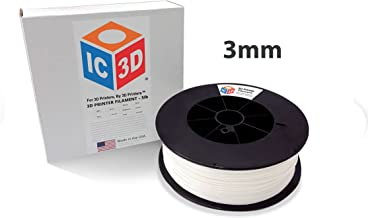 IC3D White 3mm ABS 3D Printer Filament - 2.3kg Spool - Dimensional Accuracy +/- 0.05mm - Professional Grade 3D Printing Filament - MADE IN USA